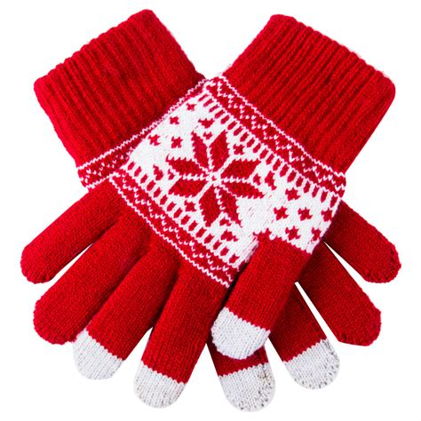 cute christmas warm winter gloves snowflake printed
