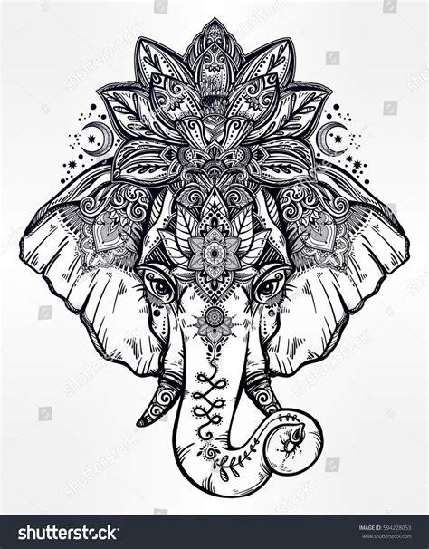 vintage style vector elephant   ornate lotus