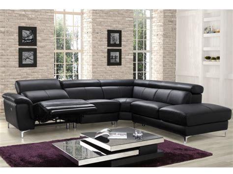 canapé angle relaxation canapé angle relax électrique en cuir noir ou blanc sitia