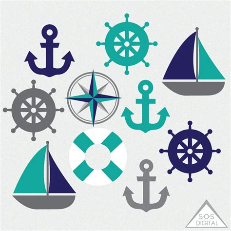 Clipart Boat With Anchor by Nautical Clipart Sailboat Anchor Teal And Navy