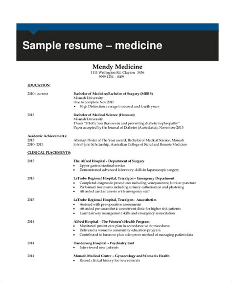resume medical student sample resume for college student 10 examples in word pdf