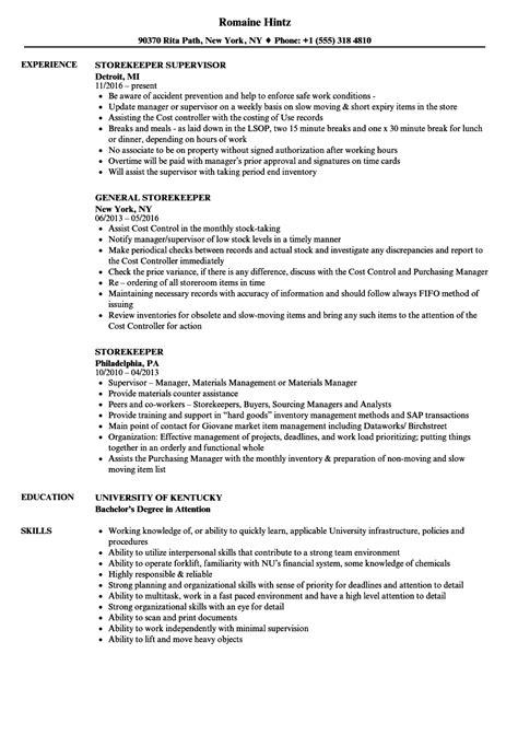 store keeper job resume