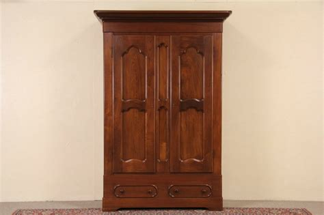 sold walnut 1850 s antique armoire wardrobe or closet signed st louis harp