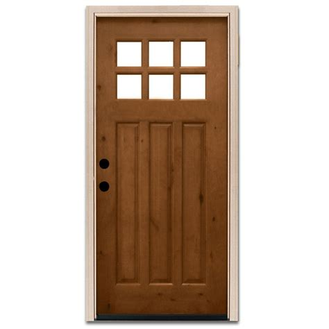 alder wood doors steves sons 36 in x 80 in craftsman 6 lite stained