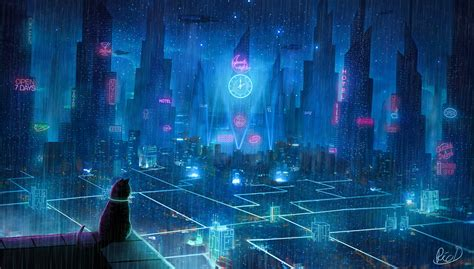 cat rain dream cyberpunk city  hd artist  wallpapers