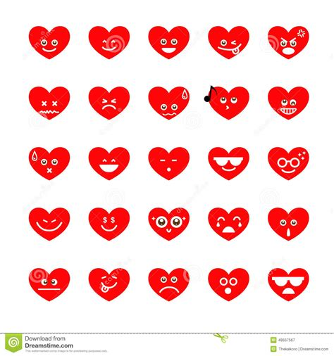 collection of difference emoji heart icon on the white