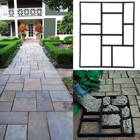 pcs concrete paving stepping stone mold path walk maker