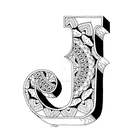 Kleurplaat Mandala Letters by J Mandala No1 Inside Alphabet No1 By Lmdodd On Deviantart