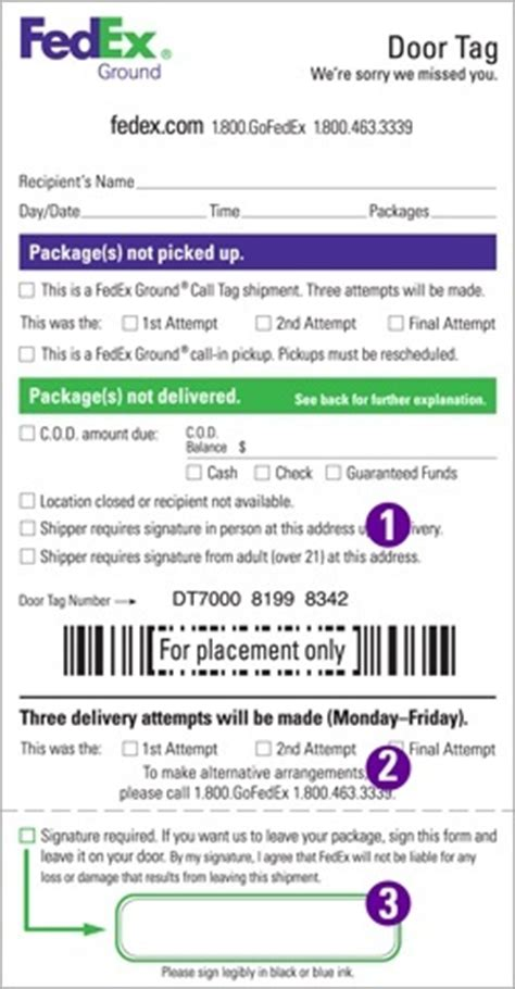 fedex delivery door tag hd guys what do you fill out on your driver release