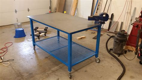 Homemade Welding Table With Wheels In Miller Blue