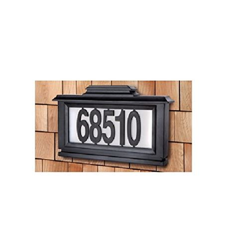 black series solar powered lighted address plaque