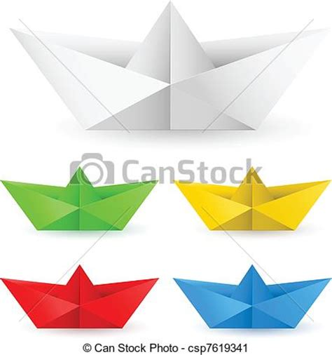 Origami Boat Clipart by Vector Clip Of Origami Paper Boat Set Of Origami