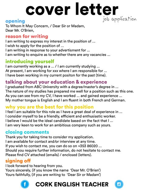 cover letter job application english language esl