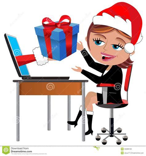 id馥 cadeau bureau employé heureux recevant le bureau de noël de cadeau illustration de vecteur image 45996126