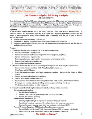 Fillable Online Laschools Weekly Construction Site Safety