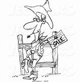 Cowboy Western Coloring Outline Cartoon Selling Toonaday sketch template