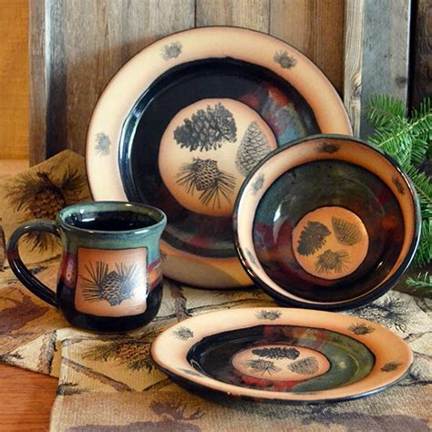 forest lodge pinecones dinnerware cabin place