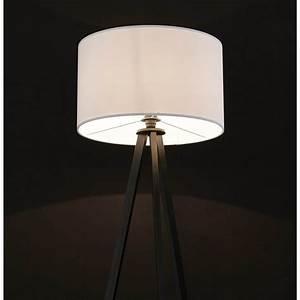 Lampe Sur Pied Scandinave : lampe sur pied de style scandinave trani en tissu blanc noir ~ Teatrodelosmanantiales.com Idées de Décoration