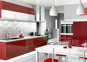 cuisine blanche et rouge idees shopping deco clem With cuisine blanche et rouge