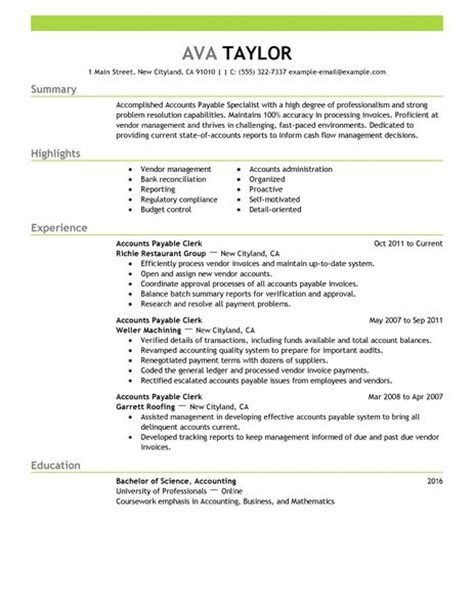 accounts payable specialist resume  livecareer