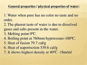 Physical & chemical properties of water