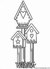 Coloring Bird Pages Birdhouse Houses Primitive Crafts Patterns Drawing Embroidery Designs Birdhouses Applique Printable Country Birds Adult Colouring Feeders Stitchery sketch template