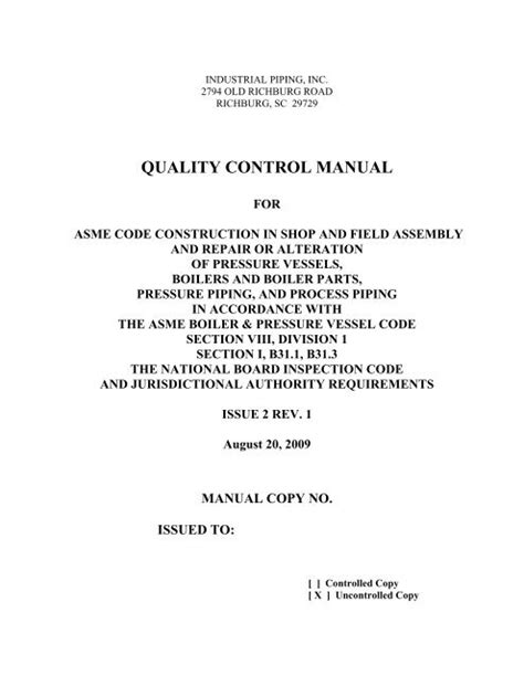 QUALITY CONTROL MANUAL - Industrial Piping, Inc.