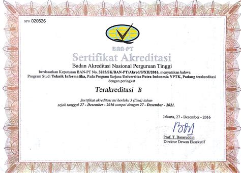 Surat Akreditasi Ban Pt by Sertifikat Akreditasi Universitas Putra Indonesia Yptk