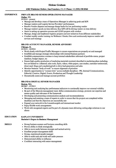 Brand Manager Resume by Brand Manager Senior Brand Manager Resume Sles