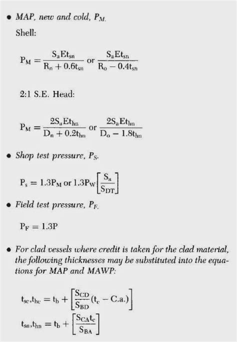Mechanical Eng.: Calculated MAP, MAWP and Test Pressures