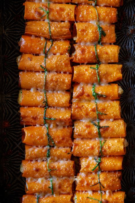sweet potato wrapped cannelloni spoon fork bacon