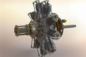 Gnome Rotary Engine - - 3d Cad Model