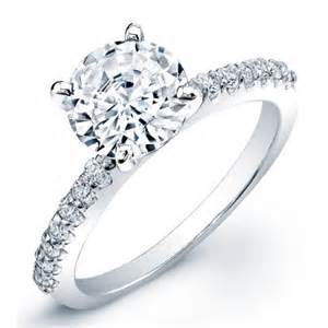 3 carat solitaire engagement ring classic pave side stones engagement ring