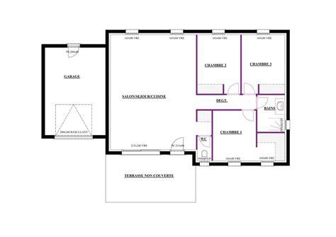modele maison plain pied 3 chambres plan maison plain pied de 80m2 immobilier pour tous