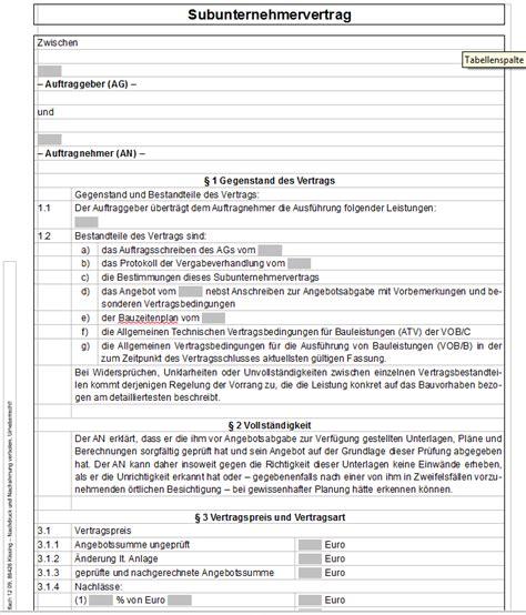 vertrag vorlageatdigitaldruckede subunternehmervertrag