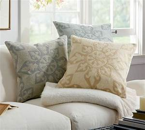 Gracie crewel embroidered pillow cover pottery barn for Crewel pillows pottery barn