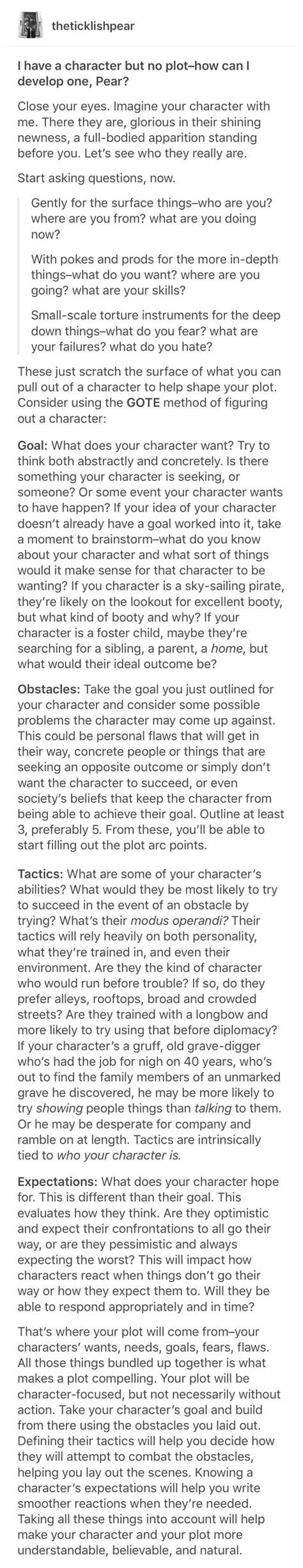 gote method  character design writing writing tips