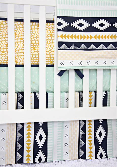 Aztec Crib Bedding by Aztec Gold And Mint Crib Bedding Set By Caden