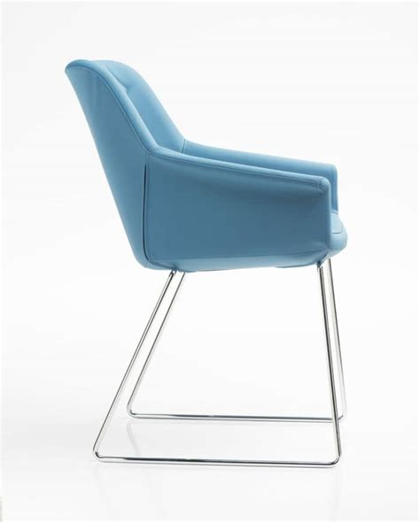 padded armchair  office sled steel base idfdesign