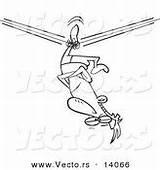 Down Cartoon Upside Tight Rope Coloring Unbalanced Stuck Walker Outline Vector Circus Royalty Designs sketch template