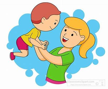 Mother Clipart Child Holding Playing Children Mom