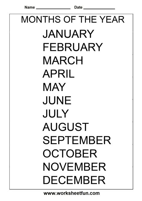 images   printable spanish worksheets months