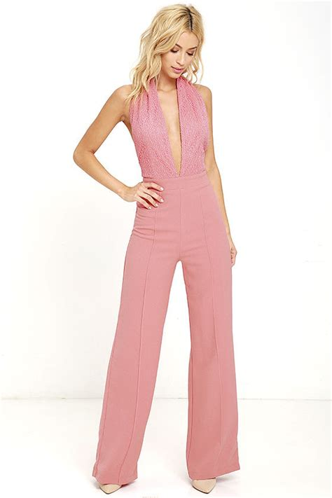 pink jumpsuits blush pink jumpsuit halter jumpsuit lace jumpsuit