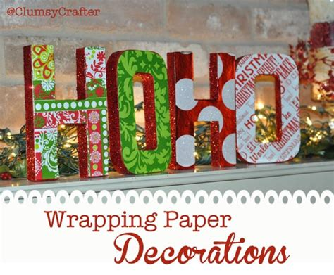 decorative christmas letters wrapping paper letter decorations clumsy crafter