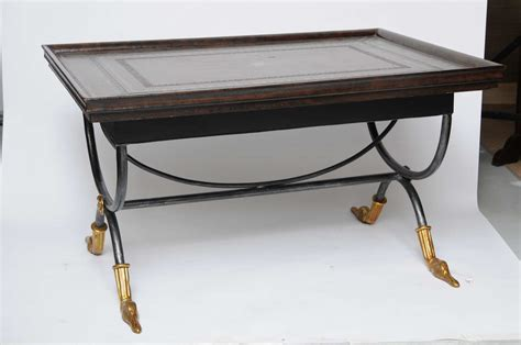 leather top coffee table neoclassical leather top coffee table at 1stdibs