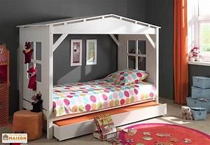 Lit Cabane Avec Tiroir : lit enfant cabane et lit gigogne 90 x 200 pls coloris vipack ~ Teatrodelosmanantiales.com Idées de Décoration