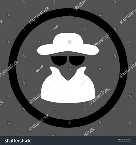 spy glyph icon  rounded flat stock illustration