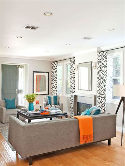 Grey And Turquoise Living Room by Modern Gray Living Room With Turquoise And Orange Accents