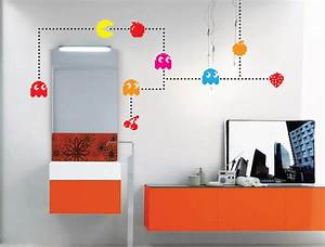 pacman characters wall decal game vintage pixels gadgets With pacman wall decals gamers room ideas