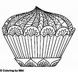 Cupcake Zentangle Coloring sketch template